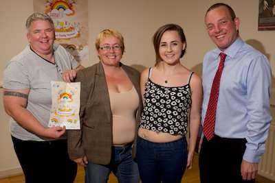 "Launching Dundalk Pride, this year themed ""Because Family Matters"" were Sharon Canning and daughter Molly with Bernardine Quinn, Dundalk Outcomers and Jerry Buttimer, TD."