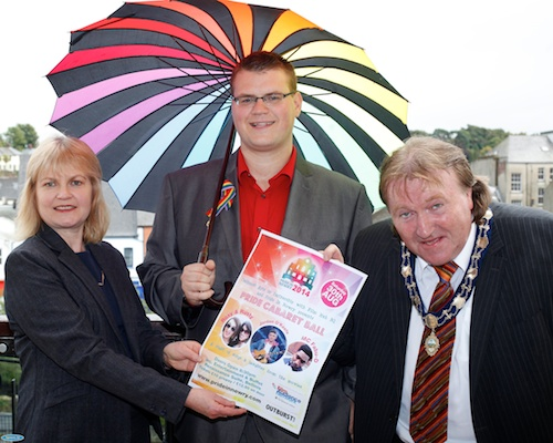Mary McSorley, The Equality Commission with Rory Rafferty, Chairman, Newry Rainbow Community and Brian Quinn, Deputy Mayor, Newry and Mourne District Council getting ready for tomorrows Pride in Newry Festival 2014. Photograph: Columba O'Hare