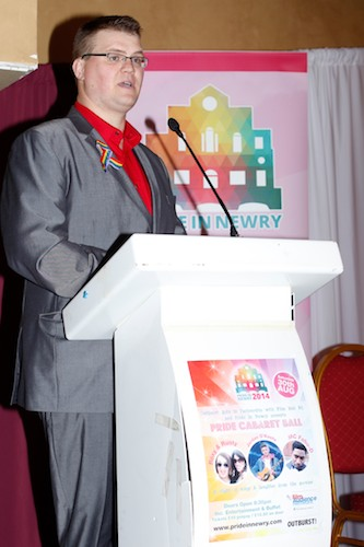 Rory Rafferty, Chairman, Newry Rainbow Community speaking at the Pride in Newry 2014 launch.