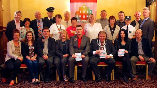 Pride in Newry was launched in Bellinis today. Pictured at the launch were the three speakers at the event: Brian Quinn, Deputy Mayor, Newry and Mourne District Council; Mary McSorley, The Equality Commission and Rory Rafferty, Chairman, Newry Rainbow Community with MlA's, Councillors, PSNI, Pride in Newry Sponsors and members of Newry Rainbow Community. Photograph: Columba O'Hare