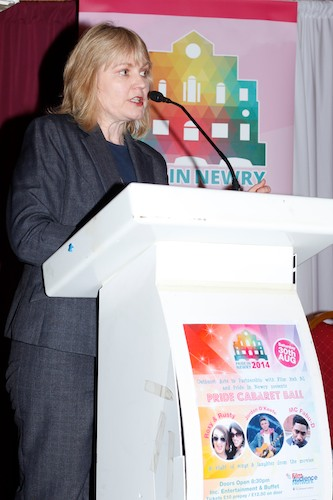 Mary McSorley from the Equality Commission speaking at the launch of the 2014 Pride in Newry Festival. Photograph: Columba O'Hare