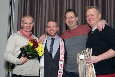Neil McGrath, Mr Gay NI with NRC members Padraig Lynch, Gary O'Rourke and Martin King. Photograph: Columba O'Hare