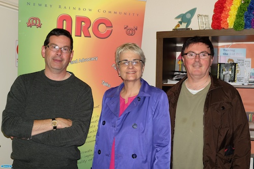 Margaret Ritchie, MP with Columba O'Hare and Damian McKevitt from Newry Rainbow Community.