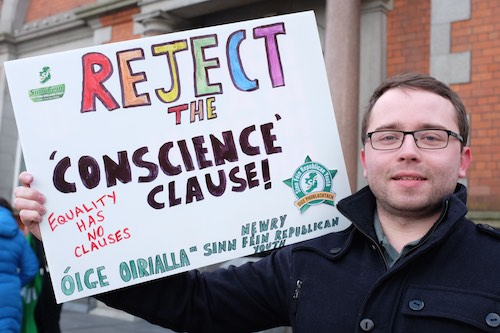 Mayor Daire Hughes was at the Anti Conscience Clause Rally in Newry.